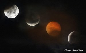 montage de 4 photos prises lors des différentes phases de l'éclipse du 28/09